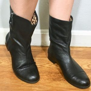 Michelle D black leather boots size 9